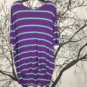 4/$25 LuLaRoe Irma Purple & Blue Striped Tunic Sm